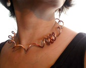 Spiral Copper choker rustic Copper statement necklace metalwork copper jewelry