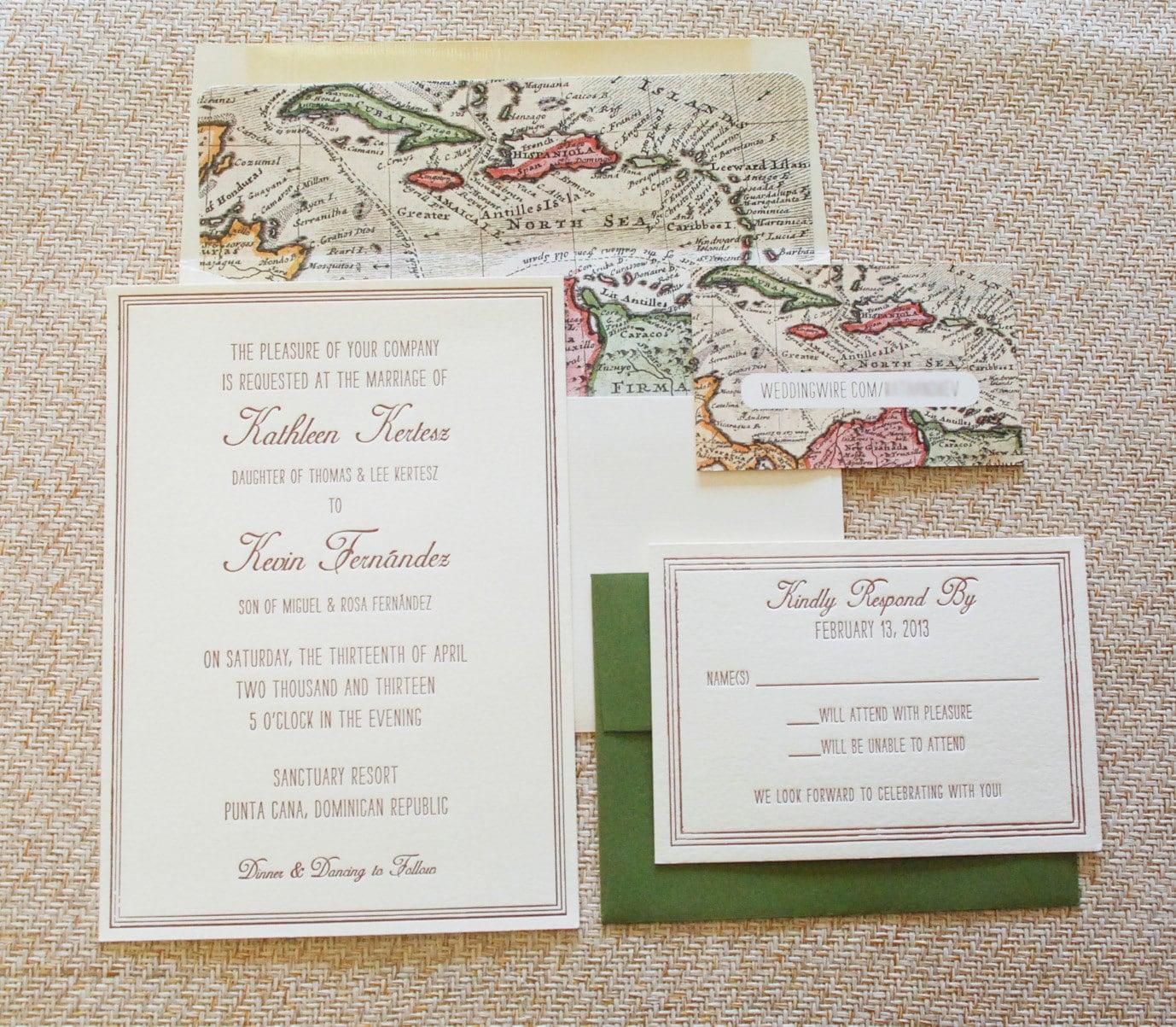Matchy Matchy Letterpress Invite And Handmade Envelope: Vintage Map Destination Letterpress Wedding By Beyonddesign