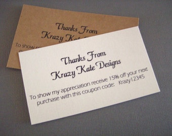 Thank You Cards, Business Card, Set of 50, Printed Cards, Discount Card