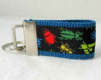 Bugs Mini Key Fob - BLUE Insects Key Chain - Bug Zipper Pull - Backpack Identifier - Small Key Ring