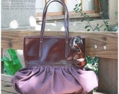 Quote studio Pleated Bag Leather N Canvas-- purple