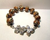 Plus size  Tiger bead with Jungle Flower claped bracelet featuring handmade tiger print beads