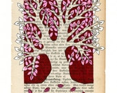 Tree   - Original ink illustration on vintage book page - red and sepia