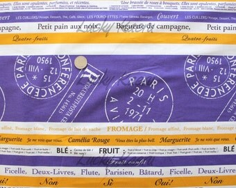 Suzuko Koseki, Dessert Post Stripe Purple Yellow Natural Japanese Fabric  - Half Yard