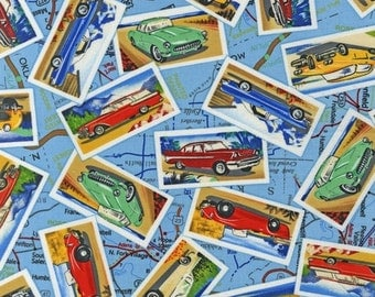 Kate Ward Thacker, Road Trip USA, Vintage Cars Map Bright Fabric - REMNANT Size 12 Inches by 44 Inches