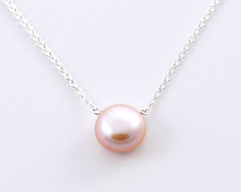 Light Rose Pearl necklace - pale pink pearl necklace - small round pearl necklace - simple delicate silver necklace - Buttonpearl pale rose