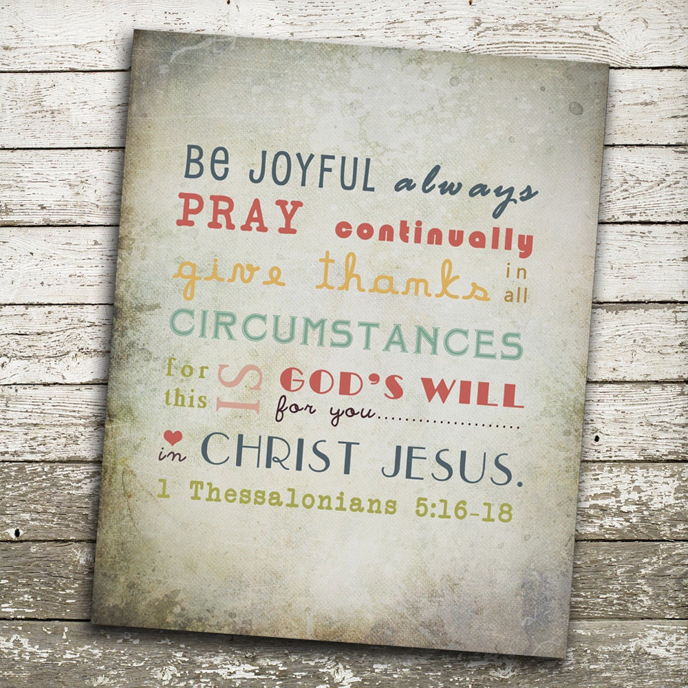 bible verse wall art be joyful always pray continually give