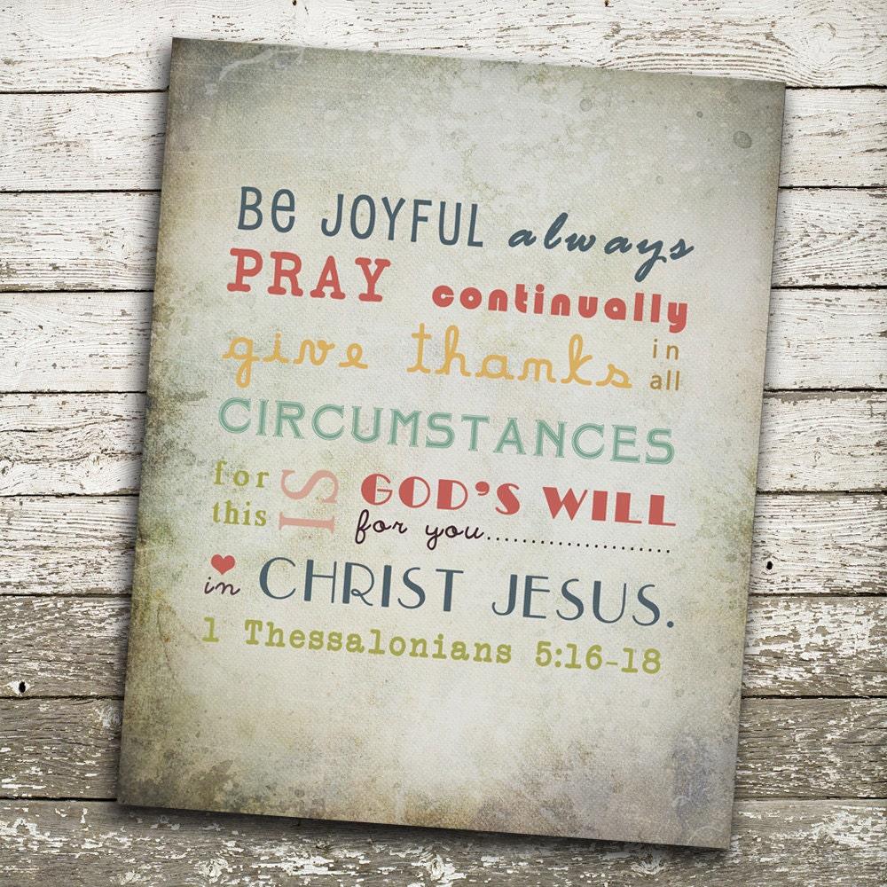 Bible Verse Wall Art Be Joyful Always Pray Continually Give