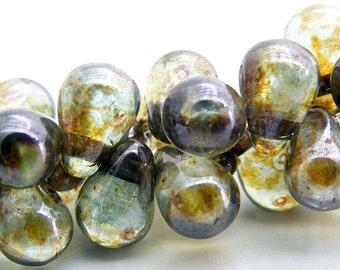 Czech Glass Teardrop Beads 6x4mm Glass Beads Transparent Green Luster (25pk) SI-6x4D-TGL