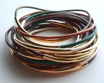 Set of 9 Leather Bangle Bracelets - Leather Bangle - Custom Leather Bracelet - Boho Bracelet - Wrap Bracelet - Boho stackable bracelet