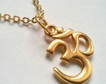 Gold OM Necklace, Yoga Jewelry, Meditation, mother, layered necklace, sister,Yoga Necklace, layering necklace
