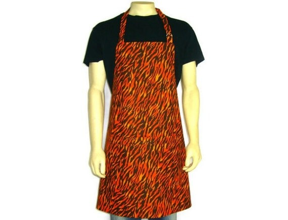 Orange Flame Apron for men, Chef Style, Adjustable with Pocket, Fun Kitchen decor,  BBQ, Fire