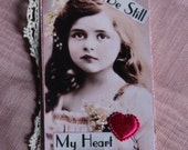 Dreamy Mixed Media Gift Tag/Sweet face/Old Lace/trims/Be Still My Heart