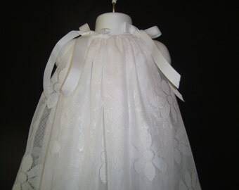 Beautiful White daisy lace, Baptism, Christening, Blessing gown with bonnet sizes up to 12 months