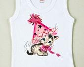Kitty Shirt - Birthday Kitten Shirt - Pink Kitty Tshirt - Birthday Party Kitty - Retro Pink Kitty Party Tee - Custom Size Vintage Girl