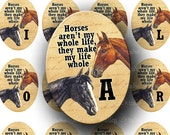 INSTANT DOWNLOAD Digital Images Collage Sheet Horse Love Quote Alphabet Equine Illustrations Large Ovals 30 x 40 mm for Pendants Tags (OL63)