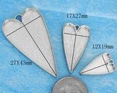 20pcs 29X52mm Great heart Silver tone Pewter bezel blank Pendant Tray-Saint Valentine Day