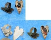 6pcs mix Heart tray Adjustable pewter Ring Blank -Saint Valentine Day