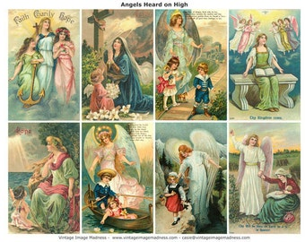 ANGELS HEARD on HIGH Vintage Images - Instant Download Digital Collage Sheet