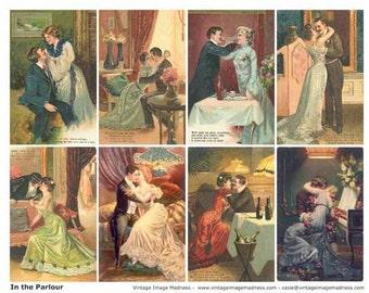 IN THE PARLOUR Vintage Postcards - Instant Download Digital Collage Sheet