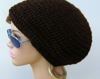 SLIGHTLY Slouchy hat, chocolate brown pure alpaca wool beanie, slouchy beanie hat, hippie Bohemian slouch beanie,  men women hat, winter hat
