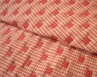 Ribbon Fabric in Red and Cream Plaid