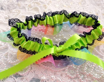 Rainbow Garter-Neon Green-Black Lace -Gay Pride Garter-1