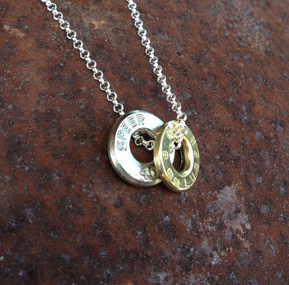 bullet casing top necklace 9mm Remington and .40 Smith and Wesson sterling silver chain