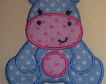 Hippo Applique Iron On or Sew On Patch in Blue and Pink