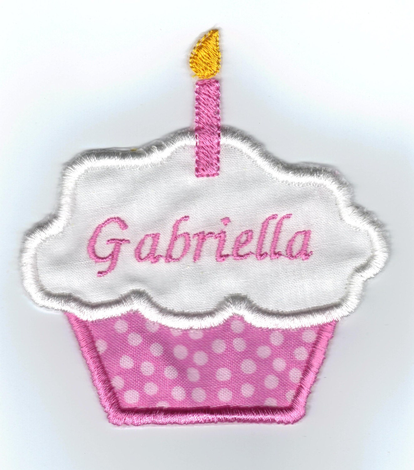 1st Or 2nd Birthday Cupcake Applique Patch Personalized Pink