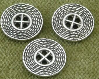 5076   Antique Silver Steampunk Basket Weave Look Button B29