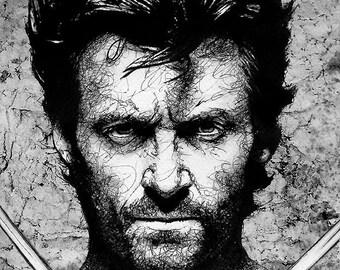 "Print 8x10"" - Wolverine - Hugh Jackman X Men Superhero Marvel Comics Sideburns Beard Actor Celebrities Pop Art Superman Spiderman Batman"