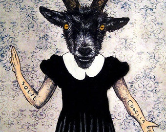 "Print 8x10"" -  The Baphomet - Goat Animal Pagan Folklore Evil Demon Satan Devil Gothic Dark Art Horror Cute Dress Vintage Lucifer Creepy"