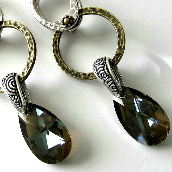 Silver and bronze hammered mixed metal earrings with Swarovski crystal bronze faceted pear pendant, beaded earrings, beaded jewelry