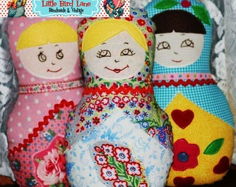 Instant Download Treasury Item The Fat Quarter Matryoshka Doll PDF Sewing Pattern DIY Tutorial Little Bird Lane EASY