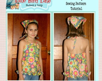 Instant Download The Retro Halter Top and Kerchief Boutique Sewing Pattern Size Toddler 1 to Youth 10 DIY PDF EASY