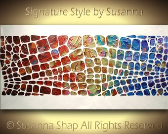 ORIGINAL large abstract painting on canvas textured painting chakra rainbow color therapy wall art palette knife made2order susanna