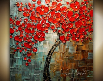 ORIGINAL Red Tree Painting Large Abstract Cherry Blossom Landscape Oil Painting Thick Texture Fine Art by Susanna Ready to Hang 30x30
