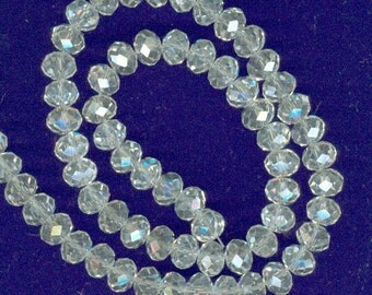 8x6mm Faceted Clear White AB Glass Rondelle Beads 17in strand