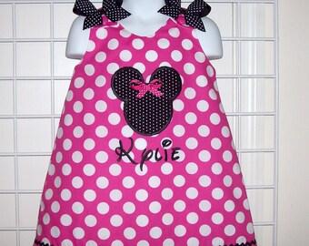 Hot Pink Dot Or You Choose Dress Color Minnie Mouse Applique with Monogram A-line Dress