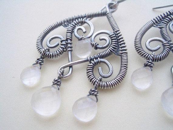 Gwendolyn Earrings----Rainbow Moonstone/Sterling Silver