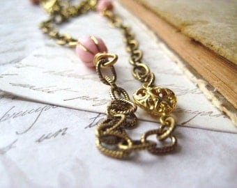 Heart necklace, pink vintage beads, filigree hearts, etched antique, brass chain, womens jewelry, layering necklace, golden chain, candies64