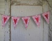 Valentines Day, Wedding Day Heart Burlap Banner, Photo Prop, Nursery, Baby. Babyy Shower
