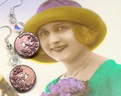 Antique BUTTON earrings, Edwardian twinkle blossoms in maroon on silver. One of a kind jewllery.