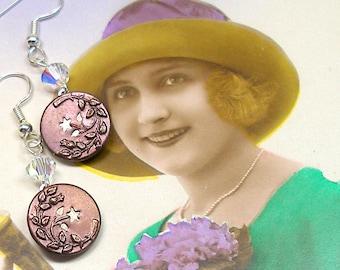 Antique BUTTON earrings, Edwardian twinkle blossoms in maroon on silver.