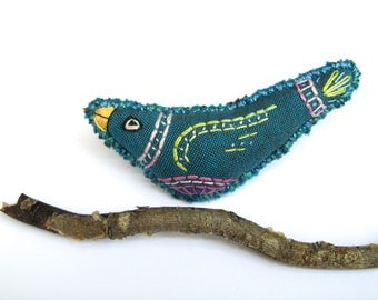 Embroidered Blue Bird Brooch