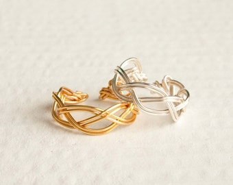 Silver Braided Adjustable Ring, Gold Ring, Bridesmaid Jewelry