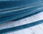 3/8 inch Teal Blue Velvet Elastic Ribbon