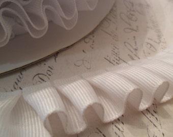 7/8 inch wide Pleated White Grosgrain Ribbon Ruffle