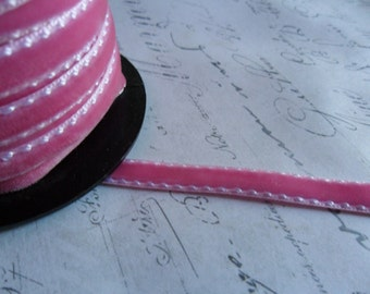 1/4 Rose Velvet Ribbon with stitched edges